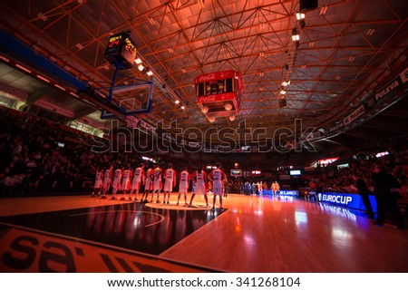 VALENCIA, SPAIN - NOVEMBER 18th: Fonteta Stadium during Eurocup between Valencia Basket Club and Sluc Nancy at Fonteta Stadium on November 18, 2015 in Valencia, Spain - stock photo