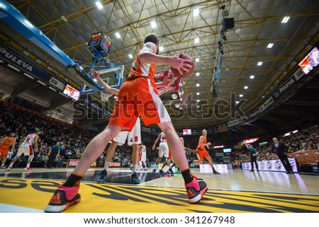 VALENCIA, SPAIN - NOVEMBER 18th: Shurna with ball during Eurocup between Valencia Basket Club and Sluc Nancy at Fonteta Stadium on November 18, 2015 in Valencia, Spain - stock photo