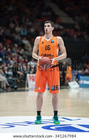 VALENCIA, SPAIN - NOVEMBER 18th: Vives during Eurocup between Valencia Basket Club and Sluc Nancy at Fonteta Stadium on November 18, 2015 in Valencia, Spain - stock photo