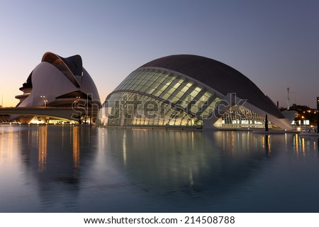 VALENCIA, SPAIN - OCT 8: City of Arts and Sciences at dusk. October 8, 2011 in Valencia, Spain - stock photo