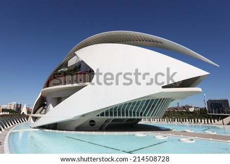 VALENCIA, SPAIN - OCT 9: El Palau de les Arts Reina Sofia at the City of Arts and Sciences. October 9, 2011 in Valencia, Spain - stock photo