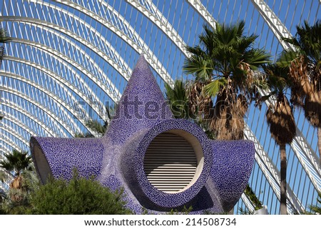 VALENCIA, SPAIN - OCT 9: L'Umbracle in the City of Arts and Sciences in Valencia. October 9, 2011 in Valencia, Spain - stock photo