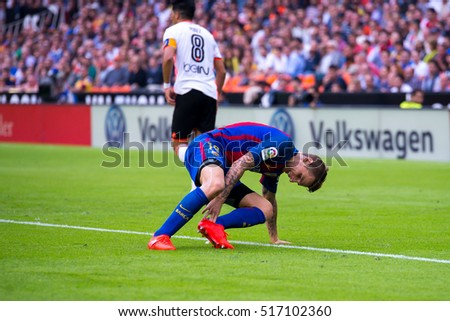 VALENCIA, SPAIN - OCT 22: Lucas Digne plays at the La Liga match between Valencia CF and FC Barcelona at Mestalla on October 22, 2016 in Valencia, Spain.