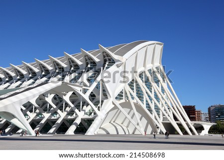 VALENCIA, SPAIN - OCT 8: Museo de les Ciencies Principe Felipe at the City of Arts and Sciences. October 8, 2011 in Valencia, Spain - stock photo