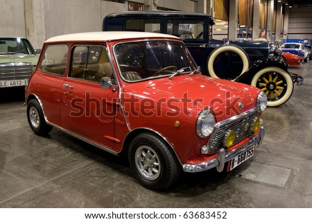 VALENCIA, SPAIN - OCTOBER 22: A 1968 Morris Mini 1275C is on display at the 2010 Motor Epoca Classic Car Show on October 22, 2010 in Valencia, Spain. - stock photo
