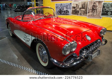 VALENCIA, SPAIN - OCTOBER 17, 2014: A red 1959 Chevrolet Corvette Convertible at the Retro Auto and Moto Valencia Classic Car Show. There was a total of 9,670 of these cars produced of the 1959 model.