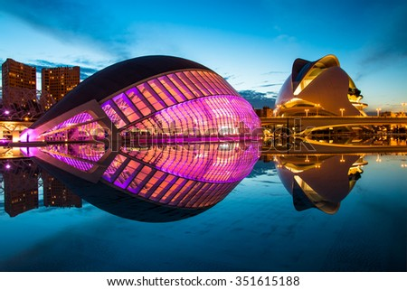 Valencia, Spain - October 23, 2015: HDR night shot of the Hemisferic in the City of Arts and Sciences, on October 23,2015, in Valencia, Spain - stock photo