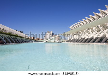 VALENCIA, SPAIN - OCTOBER 08, 2014: Panoramic view of the buildings in the City of Arts and Sciences (Ciudad de las artes y las ciencias) in Valencia, Spain - stock photo
