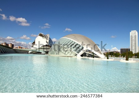 VALENCIA SPAIN-OCTOBER 21, 2012: Principe Felipe museum and Hemisferic building on October 21, 2012 in Valencia, Spain. Was designed by Santiago Calatrava architect. - stock photo