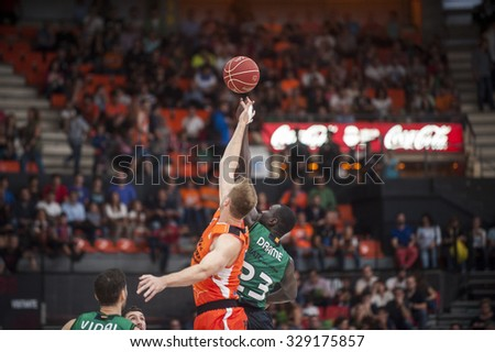 VALENCIA, SPAIN - OCTOBER 18: Sergi Vidal, Drame and Sikma during ENDESA LEAGUE match between Valencia Basket Club and FIATC Joventut at Fonteta Stadium on October 18, 2015 in Valencia, Spain