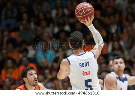 VALENCIA, SPAIN - OCTOBER 6th: Rudy Fernandez during spanish league match between Valencia Basket and Real Madrid at Fonteta Stadium on October 6, 2016 in Valencia, Spain
