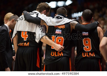 VALENCIA, SPAIN - OCTOBER 12th: Various Ratiopharm players during Eurocup match between Valencia Basket and Ratiopharm Ulm at Fonteta Stadium on October 12, 2016 in Valencia, Spain