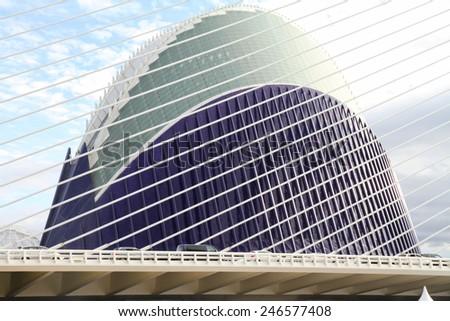 VALENCIA SPAIN-OCTOBER 21, 2012: The Agora stadium on October 21, 2012 in Valencia, Spain. The Agora was designed by Santiago Calatrava to host the Valencia Open tennis tournament. - stock photo