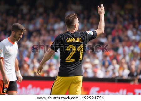 VALENCIA, SPAIN - OCTUBER 2nd: Gameiro during Spanish soccer league match between Valencia CF and Atletico de Madrid at Mestalla Stadium on Octuber 2, 2016 in Valencia, Spain