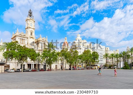 VALENCIA, SPAIN - SEPT 10: Cityscape of Valencia. September 10, 2014 in Valencia, Spain. Every year,Valencia(third size population  city in Spain)welcomes more than 4 million visitors.  - stock photo