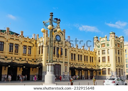 VALENCIA, SPAIN - SEPT 10: North Railways Station . September 10, 2014 in Valencia, Spain. Every year,Valencia(third size population  city in Spain)welcomes more than 4 million visitors.  - stock photo