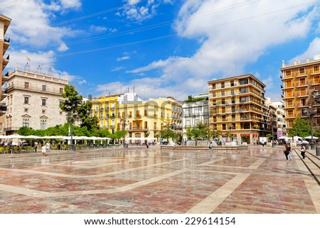 VALENCIA, SPAIN - SEPT 10: Square of Saint Mary's and fountain Rio Turia. Every year,Valencia(third size population  city in Spain)welcomes more than 4 million visitors.