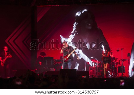 VALENCIA, SPAIN - SEPTEMBER 4: Alejandro Sanz during the concert at Valencia Bullring on September 4, 2015 in Valencia, Spain
