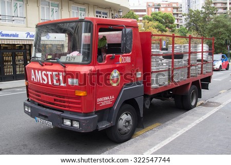 VALENCIA, SPAIN - SEPTEMBER 28, 2015: An Amstel Beer delivery truck parked in the street. Amstel Brewery was a Dutch brewery founded in 1870 in Amsterdam and was bought by Heineken in 1968. - stock photo