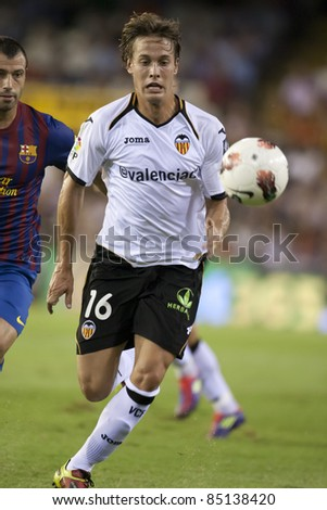 VALENCIA, SPAIN - SEPTEMBER 21:Canales in the Spanish Soccer League between Valencia C.F. vs F.C. Barcelona - Mestalla Luis Casanova Stadium - Spain on September 21, 2011