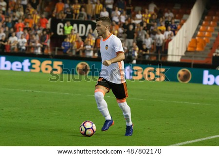 VALENCIA, SPAIN - SEPTEMBER 22nd: Gaya during Spanish soccer league match between Valencia CF and Deportivo Alaves at Mestalla Stadium on September 22, 2016 in Valencia, Spain