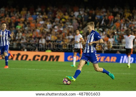 VALENCIA, SPAIN - SEPTEMBER 22nd: Marcos Llorente during Spanish soccer league match between Valencia CF and Deportivo Alaves at Mestalla Stadium on September 22, 2016 in Valencia, Spain