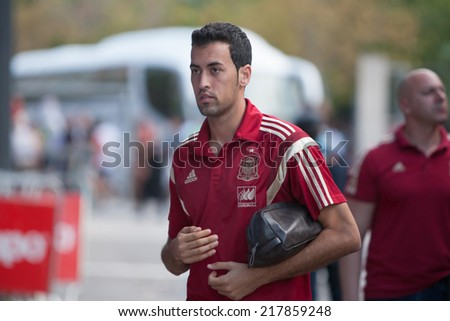 Valencia, Spain, September 8, 2014: Sergio Busquets during EURO 2016 Group C European Qualifiers game between Spain and Macedonia at Estadio Ciutat de Valencia on September 8, 2014 in Valencia, Spain - stock photo