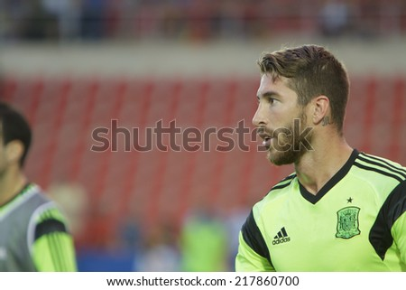 Valencia, Spain, September 8, 2014: Sergio Ramos during EURO 2016 Group C European Qualifiers game between Spain and Macedonia at Estadio Ciutat de Valencia on September 8, 2014 in Valencia, Spain - stock photo