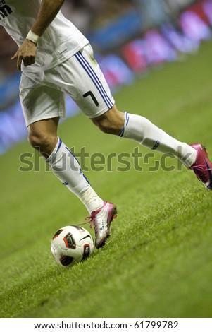VALENCIA, SPAIN - SEPTEMBER 25 - Spanish Professional Soccer League, Levante U.D. vs Real Madrid - Ciudad de Valencia Stadium - Cristiano Ronaldo - Spain on September 25, 2010 - stock photo