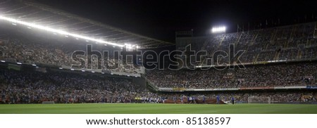 VALENCIA, SPAIN - SEPTEMBER 21: Stadium Panoramic view in the Spanish Soccer League between Valencia C.F. vs F.C. Barcelona - Mestalla Luis Casanova Stadium - Spain on September 21, 2011