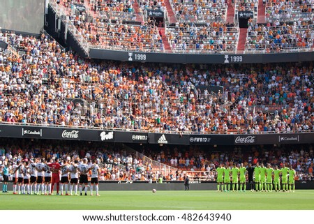 VALENCIA, SPAIN - SEPTEMBER 11th: All players during Spanish League match between Valencia CF and Real Betis at Mestalla Stadium on September 11, 2016 in Valencia, Spain