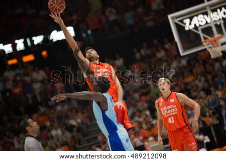 VALENCIA, SPAIN - SEPTEMBER 25th: Oriola with ball during match between Valencia Basket and Estudiantes at Fonteta Stadium on September 25, 2016 in Valencia, Spain