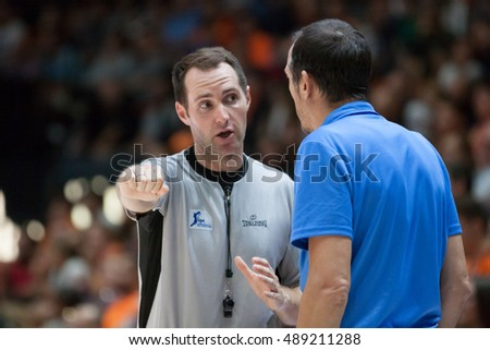VALENCIA, SPAIN - SEPTEMBER 25th: Referee talks with Maldonado during match between Valencia Basket and Estudiantes at Fonteta Stadium on September 25, 2016 in Valencia, Spain