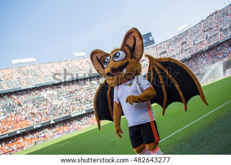 VALENCIA, SPAIN - SEPTEMBER 11th: Valencia Mascot during Spanish League match between Valencia CF and Real Betis at Mestalla Stadium on September 11, 2016 in Valencia, Spain