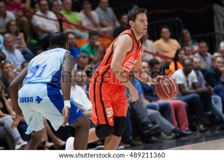 VALENCIA, SPAIN - SEPTEMBER 25th: Van Rossom with ball during match between Valencia Basket and Estudiantes at Fonteta Stadium on September 25, 2016 in Valencia, Spain