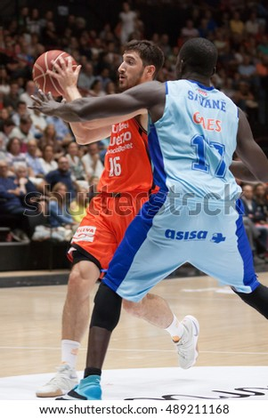 VALENCIA, SPAIN - SEPTEMBER 25th: Vives with ball during match between Valencia Basket and Estudiantes at Fonteta Stadium on September 25, 2016 in Valencia, Spain