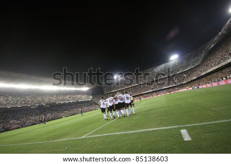 VALENCIA, SPAIN - SEPTEMBER 21: Valencia Team in the Spanish Soccer League between Valencia C.F. vs F.C. Barcelona - Mestalla Luis Casanova Stadium - Spain on September 21, 2011