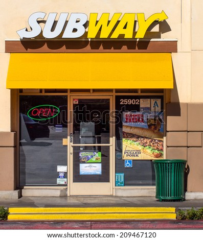 VALENICA, CA/USA - AUGUST 5, 2014:  Subway Restauraut exterior. Subway is an American fast food restaurant franchise that sells submarine sandwiches and salads. - stock photo