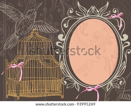 Valentine background with cage, illustration