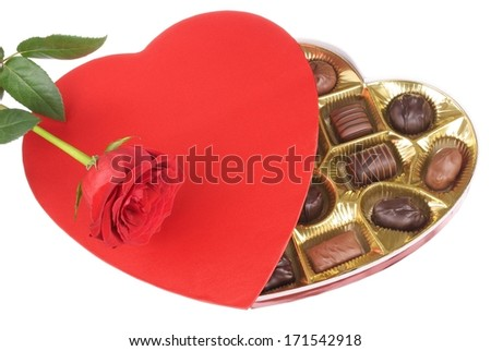 Valentine Box of Candy and a Red Rose on White Background - stock photo
