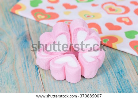 Valentine candies on color wood.selective focus.