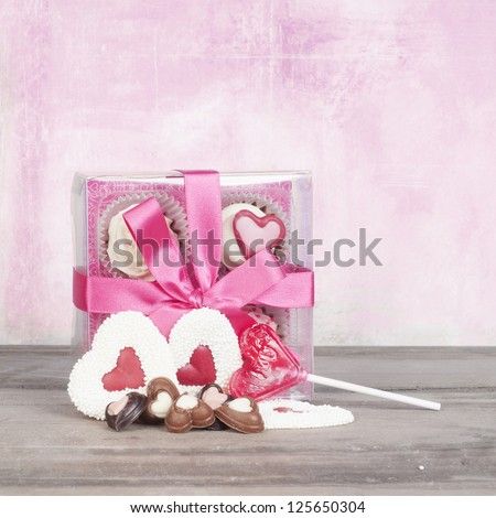 Valentine candy gift with bow card design - stock photo