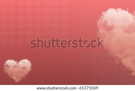 Valentine Card Cloud-shaped Heart - stock photo