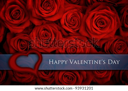 Valentine card with big bunch of red roses
