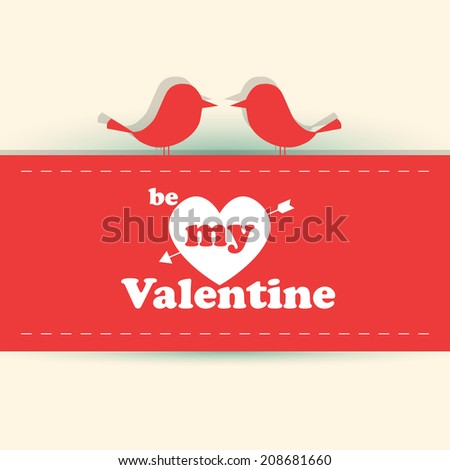 Valentine card with cute birds illustration - stock photo