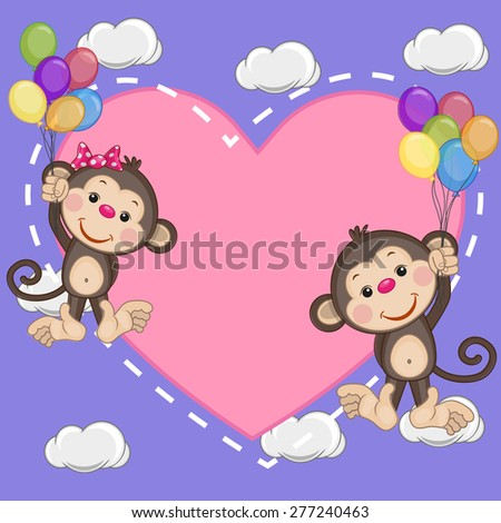 Valentine card with Lovers Monkeys flying on balloons