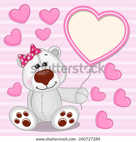 Valentine card with Polar Bear with heart frame