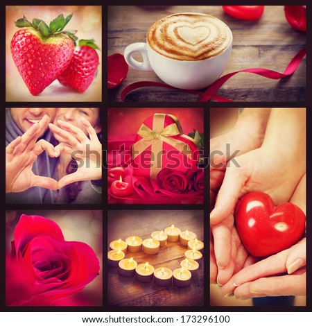 Valentine Collage. Valentines Day Hearts art design. Love. Red heart, roses, lips, ribbons on wooden background. Coffee, Gift, Strawberry, Flower Petals, burning Candles and heart in hands - stock photo