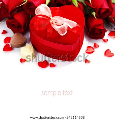 Valentine composition with roses and gift box over white (with easy removable sample text) - stock photo