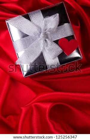 Valentine Concept on red silk